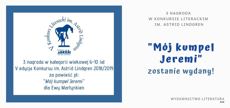 nagroda dla Ewy Martynkien za książkę Mój kumpel Jeremi